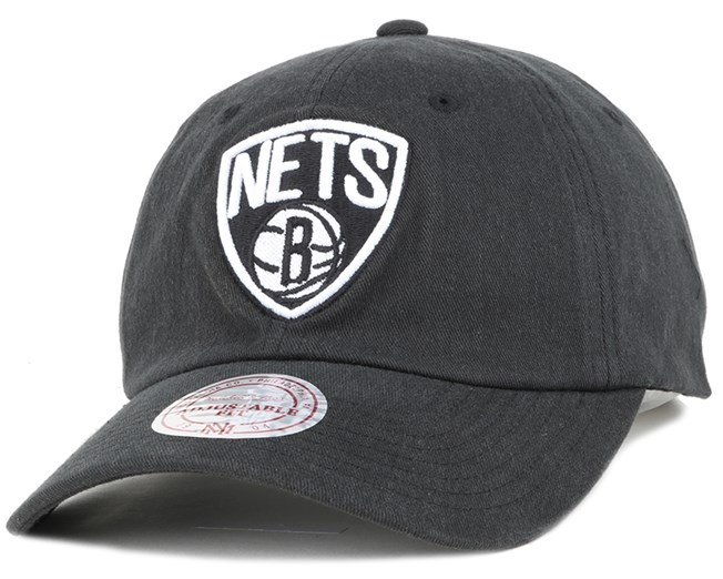 Brooklyn Nets Washed Cotton 110 Black Adjustable - Mitchell & Ness