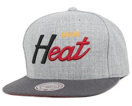 Miami Heat Heather Grey/Graphite Snapback - Mitchell & Ness