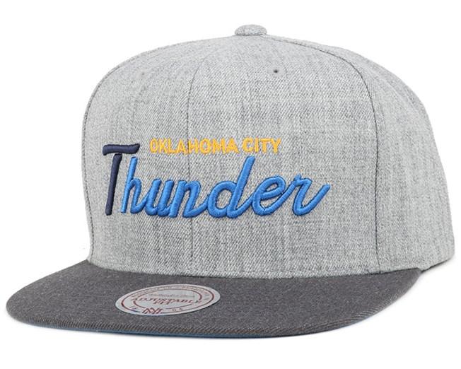 Oklahoma City Thunder Heather Grey/Graphite Snapback - Mitchell & Ness