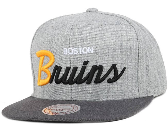 Boston Bruins Heather Grey/Graphite Snapback - Mitchell & Ness