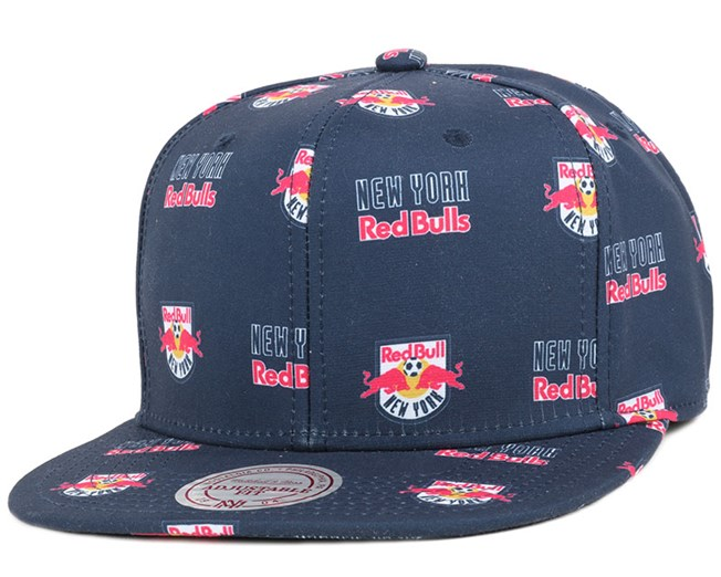 NY Red Bulls Mono Logo Navy Snapback - Mitchell & Ness