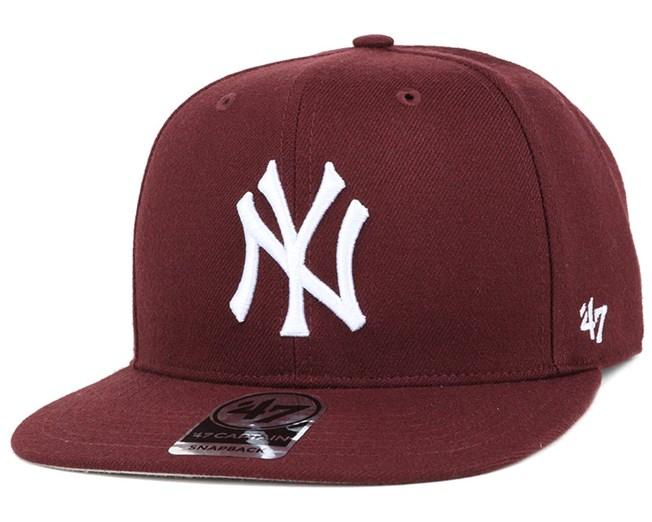 NY Yankees No Shot Captain Dark Maroon/White Snapback - 47 Brand