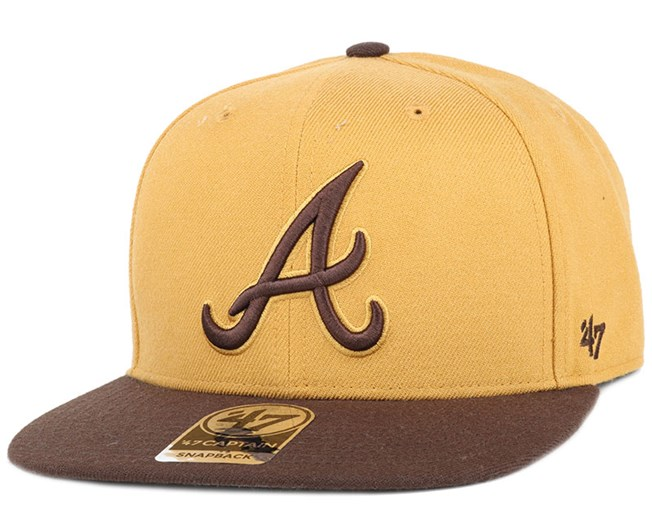 Atlanta Braves No Shot 2 Tone Captain Wheat Snapback - 47 Brand