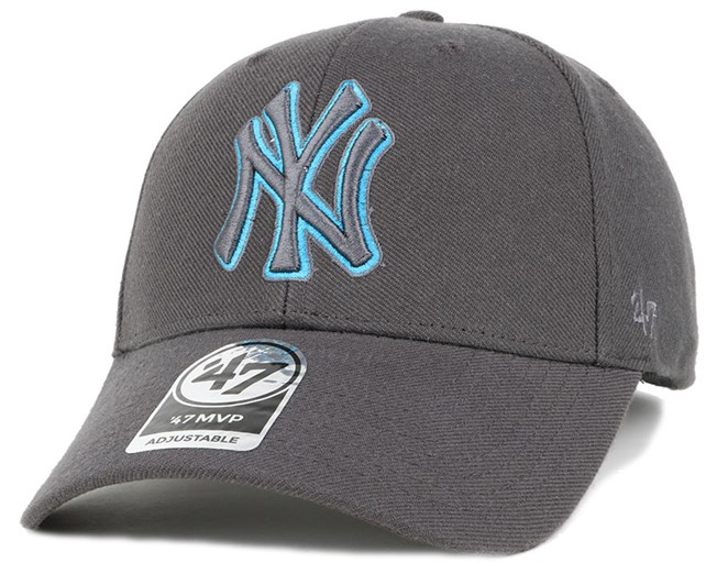 NY Yankees Triple Rush Mvp Charcoal/Blue Adjustable - 47 Brand