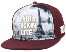 Paris Skyline Maroon Snapback - Cayler & Sons