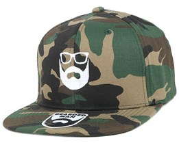 Logo Green Camo Snapback - Bearded Man