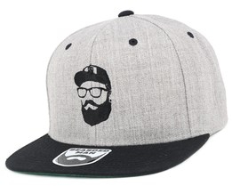 Cap Man Grey/Black Snapback - Bearded Man