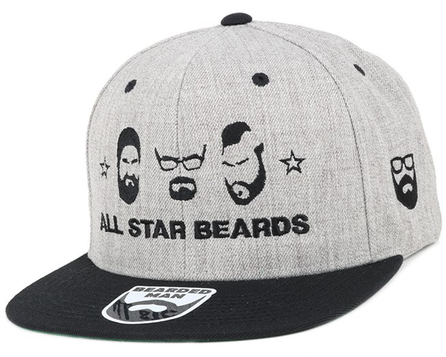 All Star Beards Grey/Black Snapback - Bearded Man