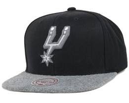 San Antonio Spurs Black/Grey Fuzz 2 Tone Snapback - Mitchell & Ness