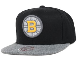 Boston Bruins Black/Grey Fuzz 2 Tone Snapback - Mitchell & Ness