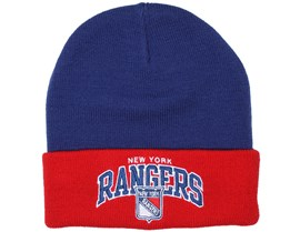 NY Rangers Arched Navy/Red Beanie - Mitchell & Ness