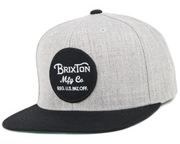Wheeler Light Heather Grey/Black Snapback - Brixton