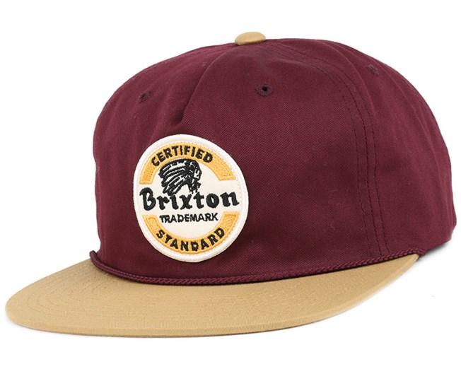 Soto Maroon Gold Snapback - Brixton caps  c06c5a6d27be