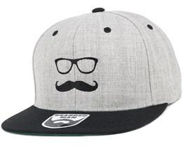 Mr. Mustache Grey/Black Snapback - Bearded Man