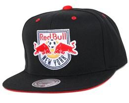 NY Red Bulls Solid Velour Logo Snapback - Mitchell & Ness