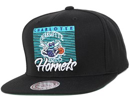 Charlotte Hornets Easy Three Digital Black Snapback - Mitchell & Ness