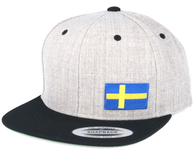 Sweden Flag Side Heather/Black Snapback - Iconic