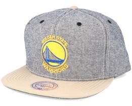 Golden State Warriors Denim Khaki Snapback - Mitchell & Ness