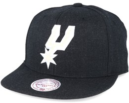 San Antonio Spurs Black Heather Snapback - Mitchell & Ness