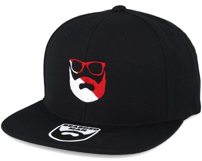 Split Logo R/W Black Snapback - Bearded Man