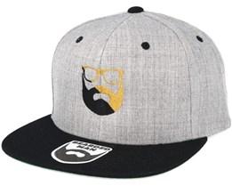 Split Logo G/B Grey/Black Snapback - Bearded Man