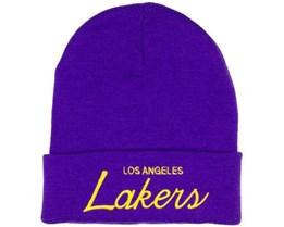 LA Lakers Script Cuffed Mössa - Mitchell & Ness