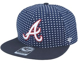 Atlanta Braves Crossbreed Captain Pattern Navy Snapback - 47 Brand