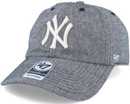 New York Yankees Strike Through Clean Up Heather Black Adjustable - 47 Brand