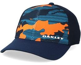 Silicone Bark Trucker Print 2.0 Navy/Neon Orange Flexfit - Oakley