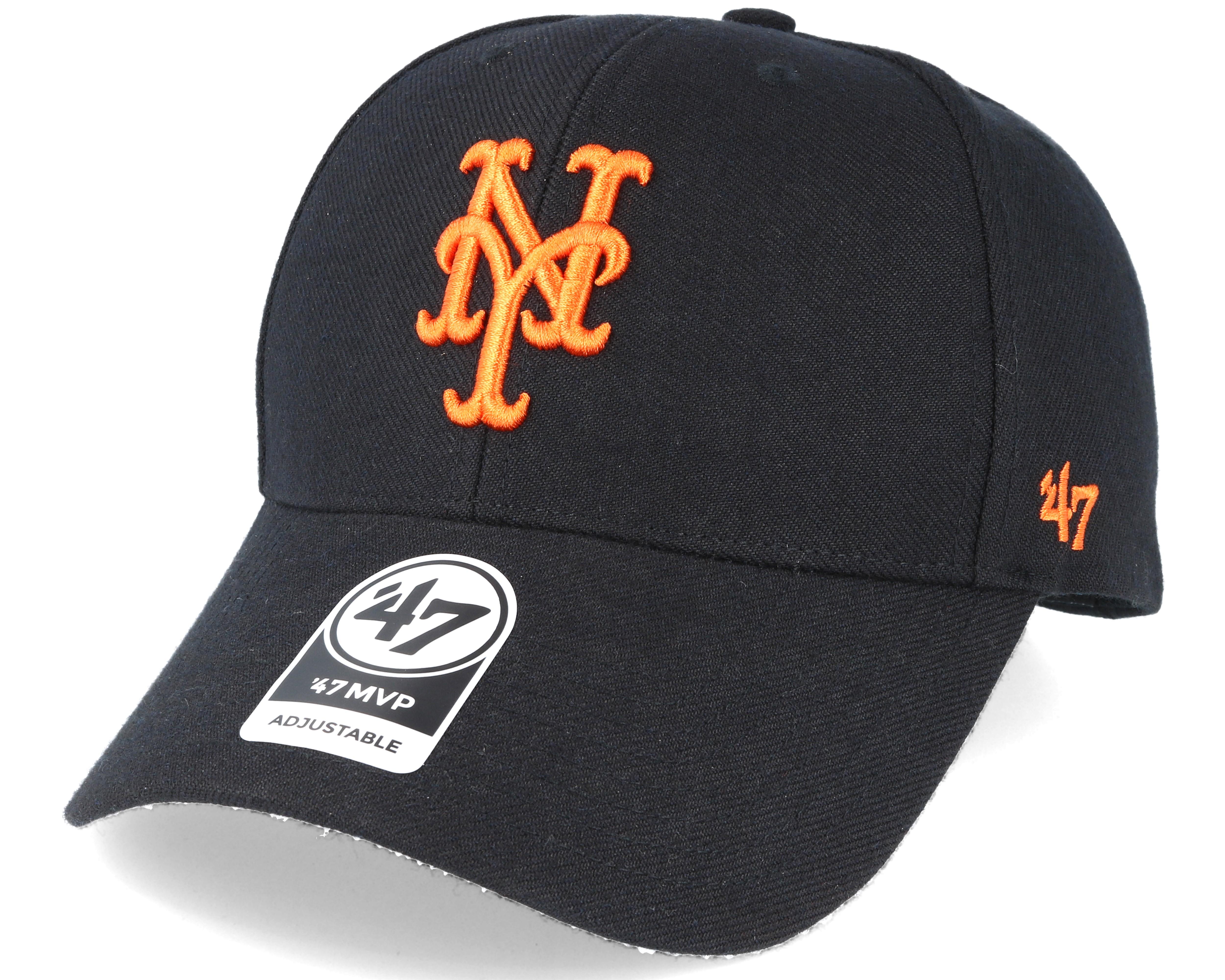 New York Mets Mvp Black Adjustable - 47 Brand caps  c87ab038b87