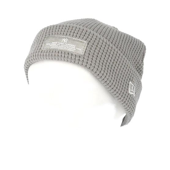 a3b9c36f18a69 New York Yankees Mono Script Patch Knit Grey Beanie - New Era beanies    Hatstore.co.uk