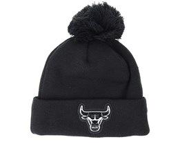 Chicago Bulls Logo Shine Bobble Black Beanie - New Era