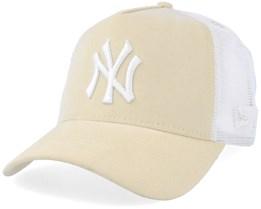 New York Yankees Micro Cord A-Frame Light Yellow/White Trucker - New Era
