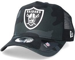 Oakland Raiders Core Black Camo Trucker - New Era