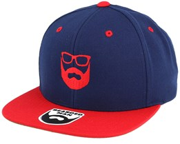 Two Tone Logo Navy/Red Snapback - Bearded Man