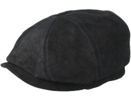 Hatteras Pigskin Black Flat Cap - Stetson
