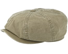 Hatteras Delave Organic Cotton Olive Green Flat Cap - Stetson