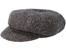 8-Panel Woolrich Black/Grey Flat Cap - Stetson