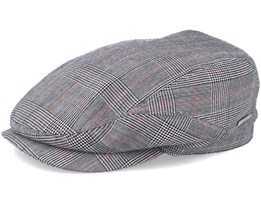 Driver Cap Wool Check Grey/Red Flat Cap - Stetson