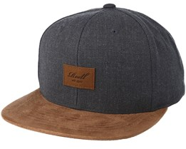 Suede 6-Panel Heather Charcoal Snapback - Reell
