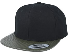 Perforated Visor Black/Olive Snapback - Yupoong