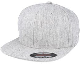 Flat Brim Heather Grey Fitted - Yupoong