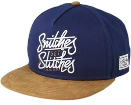 Get Stiches Navy/Cognac Snapback - Cayler & Sons
