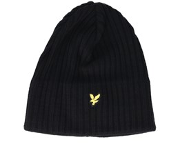 Knitted Ribbed Black Beanie - Lyle & Scott