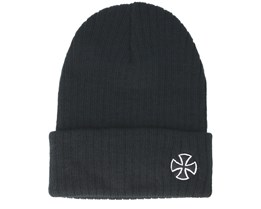 Cross Ribbed Black Beanie - Independent