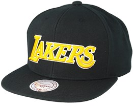 LA Lakers Wool Solid 2 Text Black Snapback - Mitchell & Ness