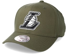 Los Angeles Lakers B&W Logo 110 Curved Olive Adjustable - Mitchell & Ness
