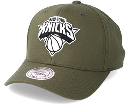 New York Knicks B&W Logo 110 Curved Olive Adjustable - Mitchell & Ness