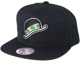 Boston Celtics Double Diamond Black Snapback - Mitchell & Ness