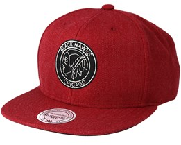 Chicago Blackhawks Team Heather Red Snapback - Mitchell & Ness
